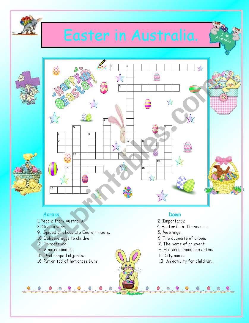 Easter in Australia. worksheet