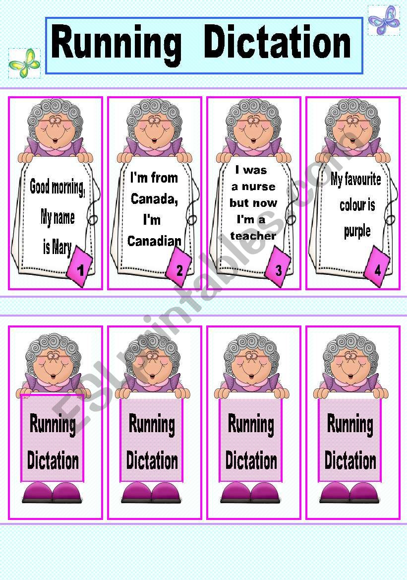 Running Dictation cards Game. 1/3