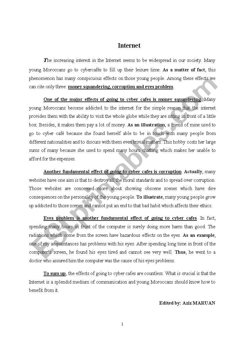 Argument Essay Paper Outline An Essay About The Internet Worksheet Research Proposal Essay also Topics For Essays In English An Essay About The Internet  Esl Worksheet By Maruan Aziz Example Thesis Statements For Essays