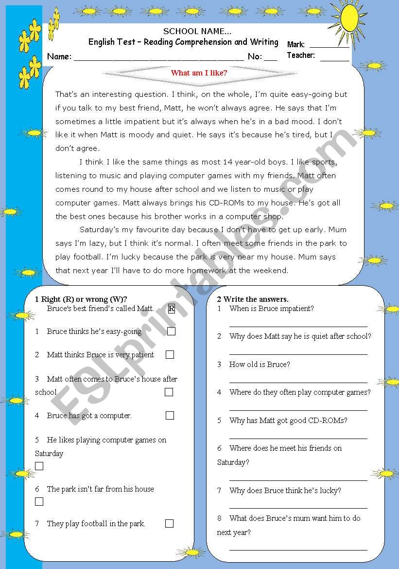 What am I like?-Reading and Writing Test