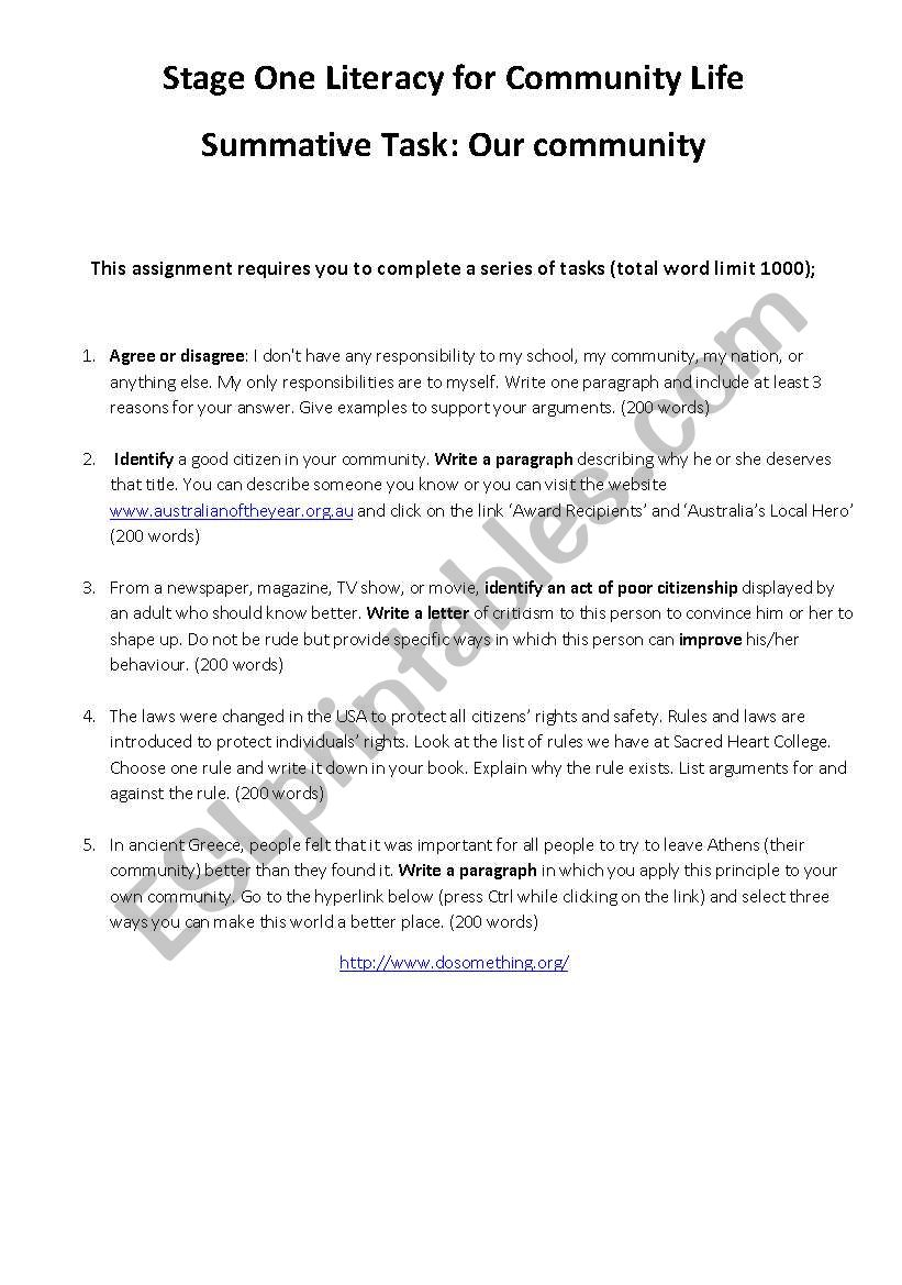 Are You A Good Citizen Esl Worksheet By Nitters