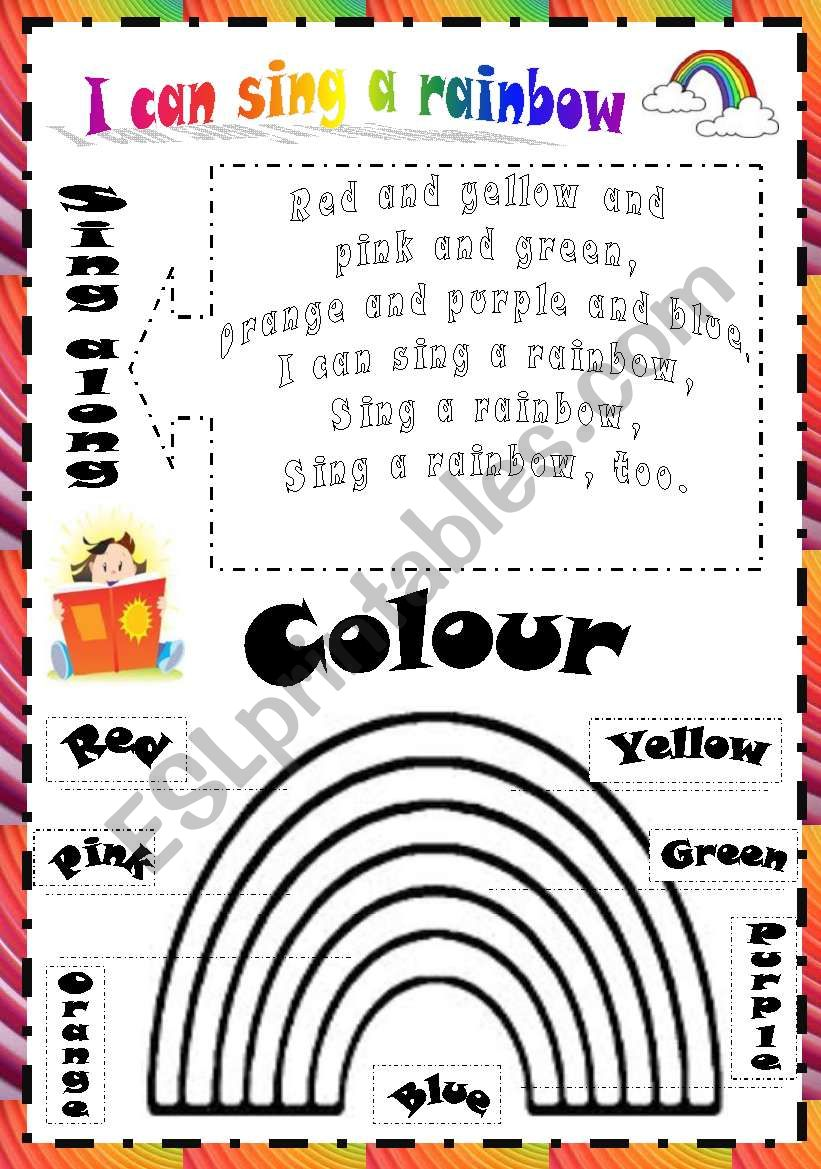 I can sing a rainbow. Song. worksheet