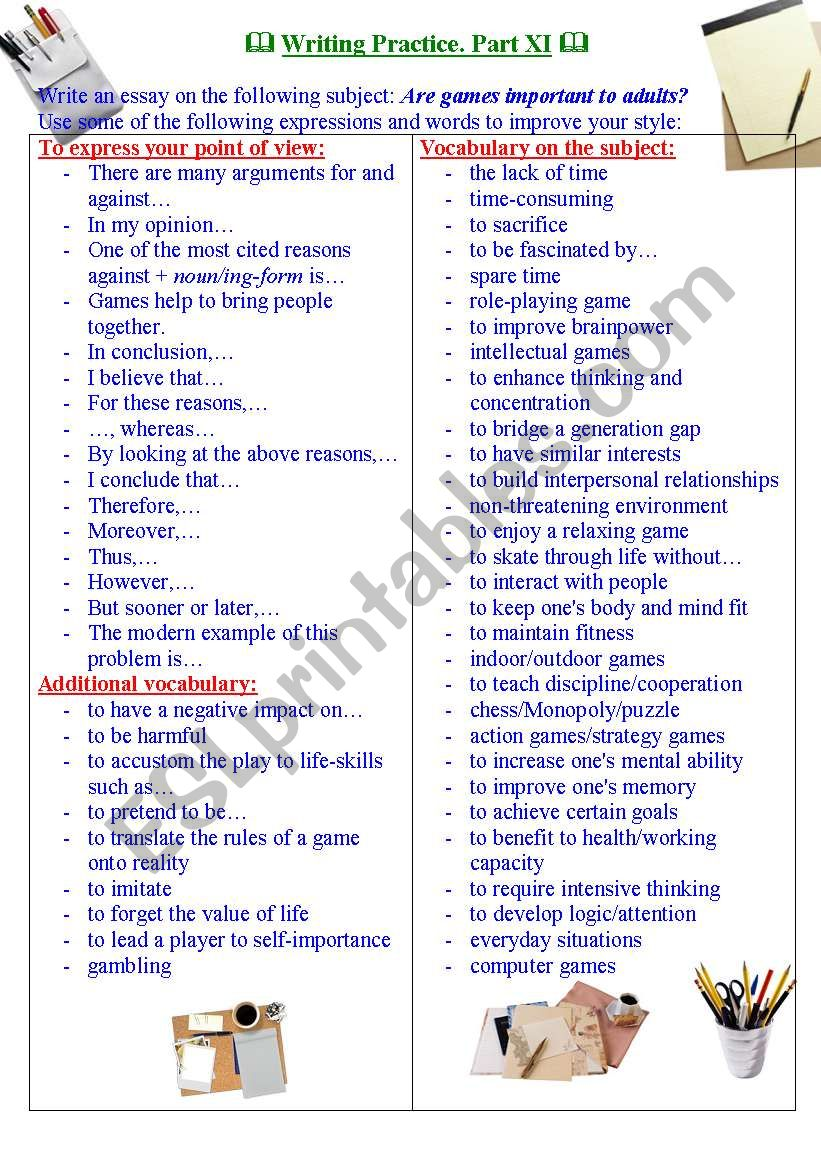 Writing practice for TOEFL/IELTS exams. Useful expressions and vocabulary. Part XI.