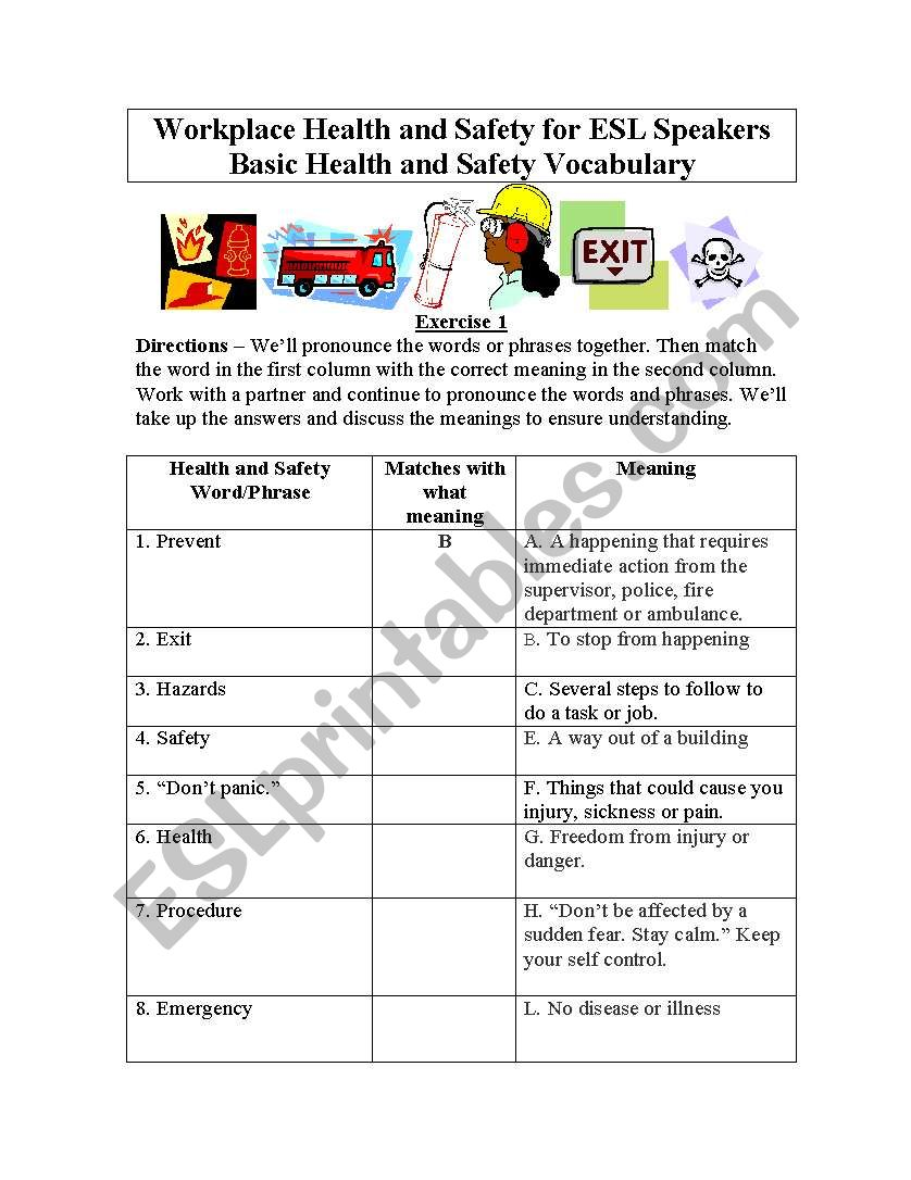 Basic Health and Safety Vocabulary for English Students ...