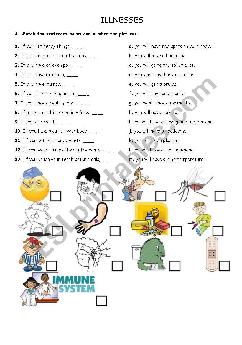 Illnesses worksheet