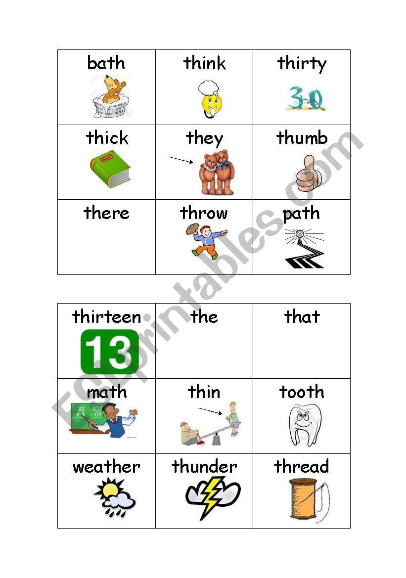 English Worksheets Bingo Game Th Sound