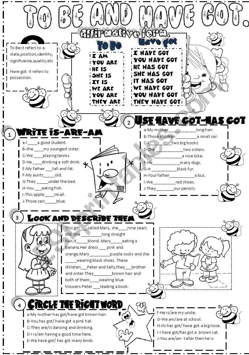 to be and have got worksheet