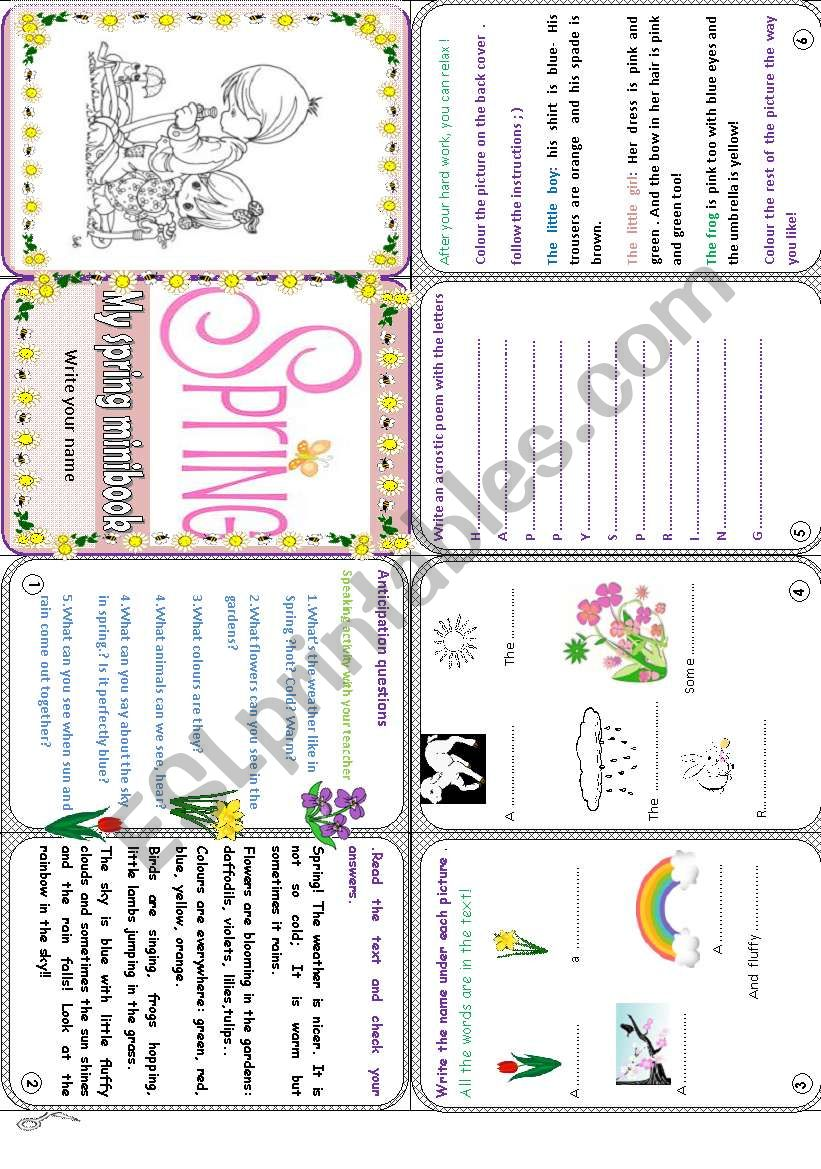 My Spring minibook worksheet