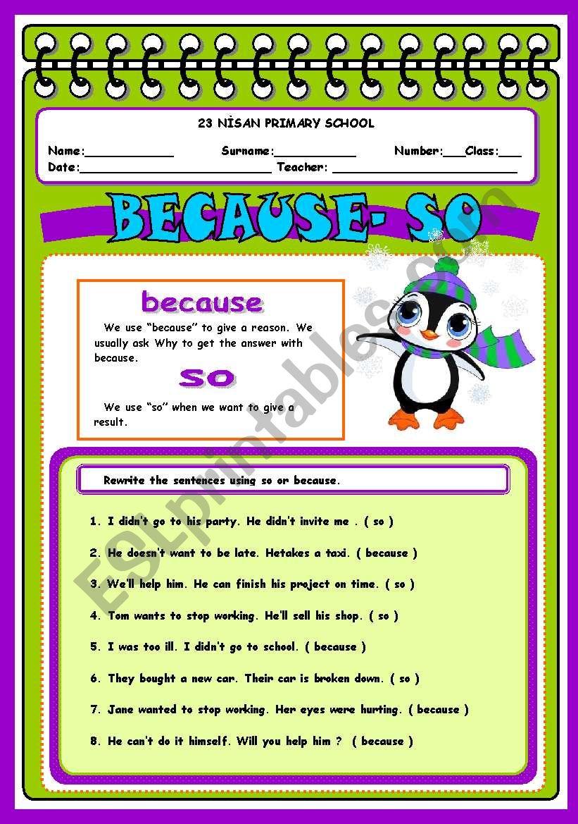 so because - ESL worksheet by elam