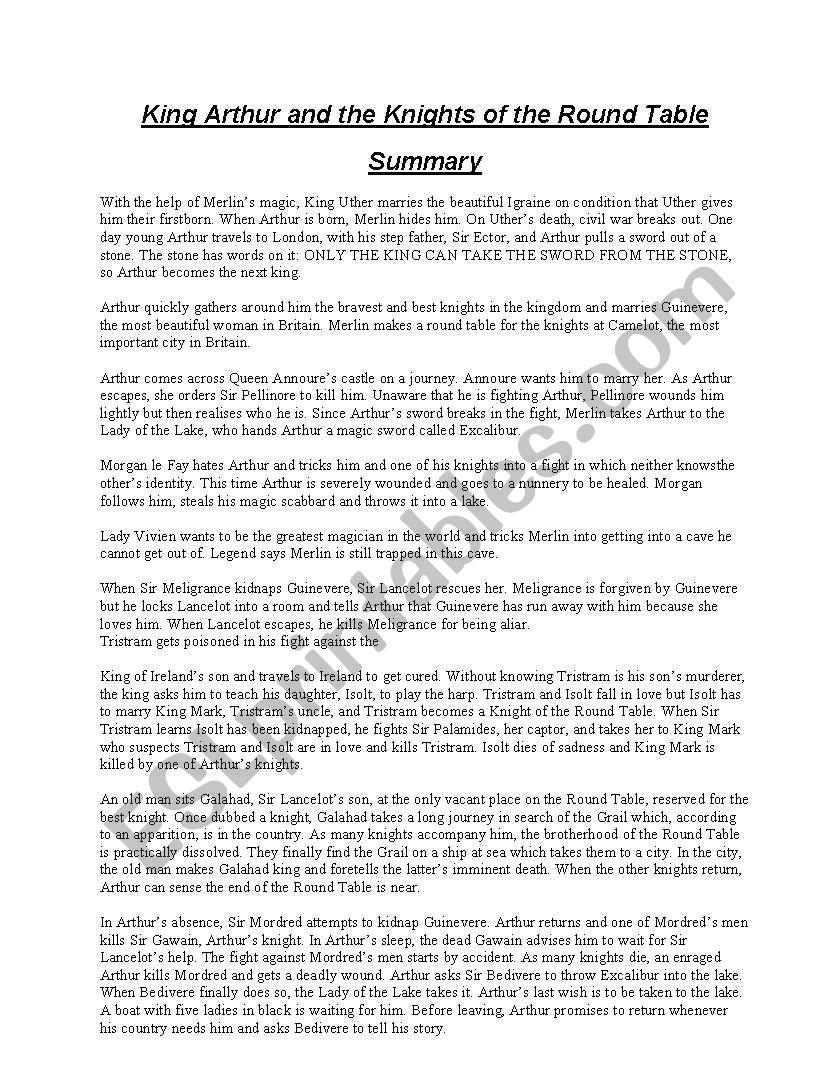 le morte darthur merlin summary