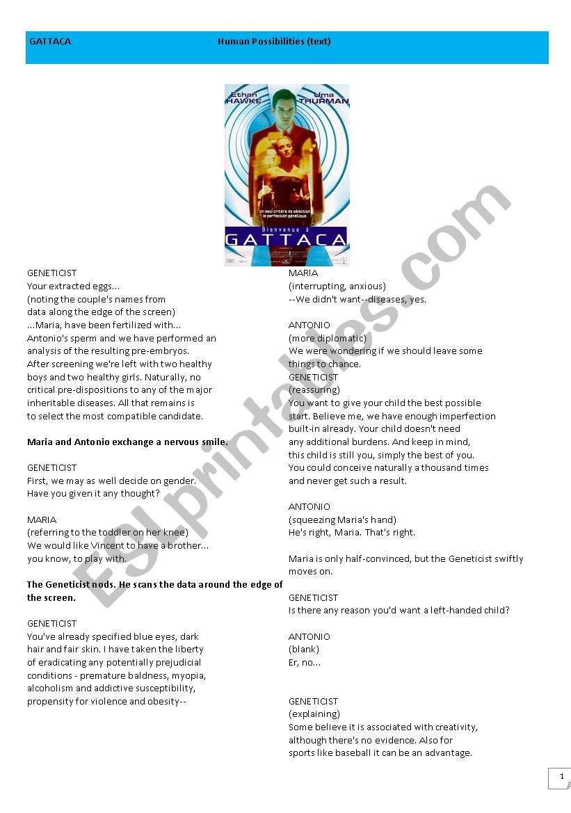 GATTACA   reading skills worksheet