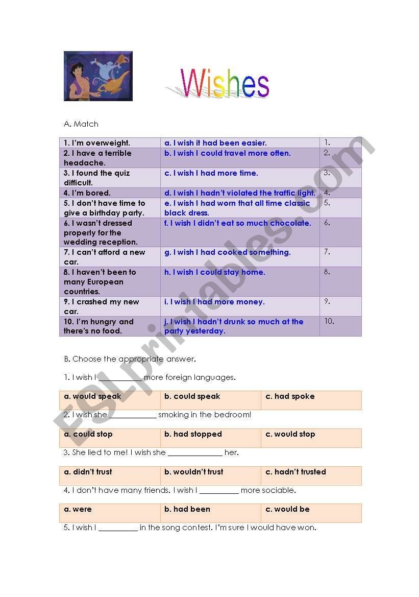 photo relating to 5 Wishes Printable Version identify Needs - ESL worksheet via natval