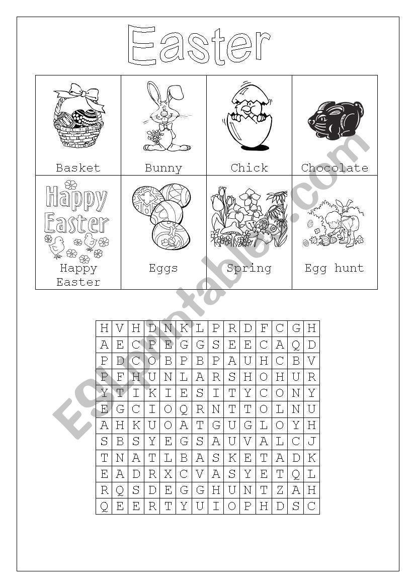 Easter vocabulary & wordsearch