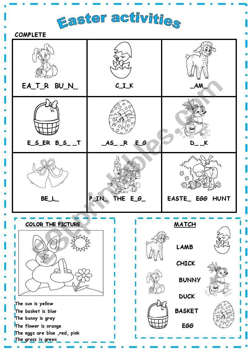 Easter activities worksheet