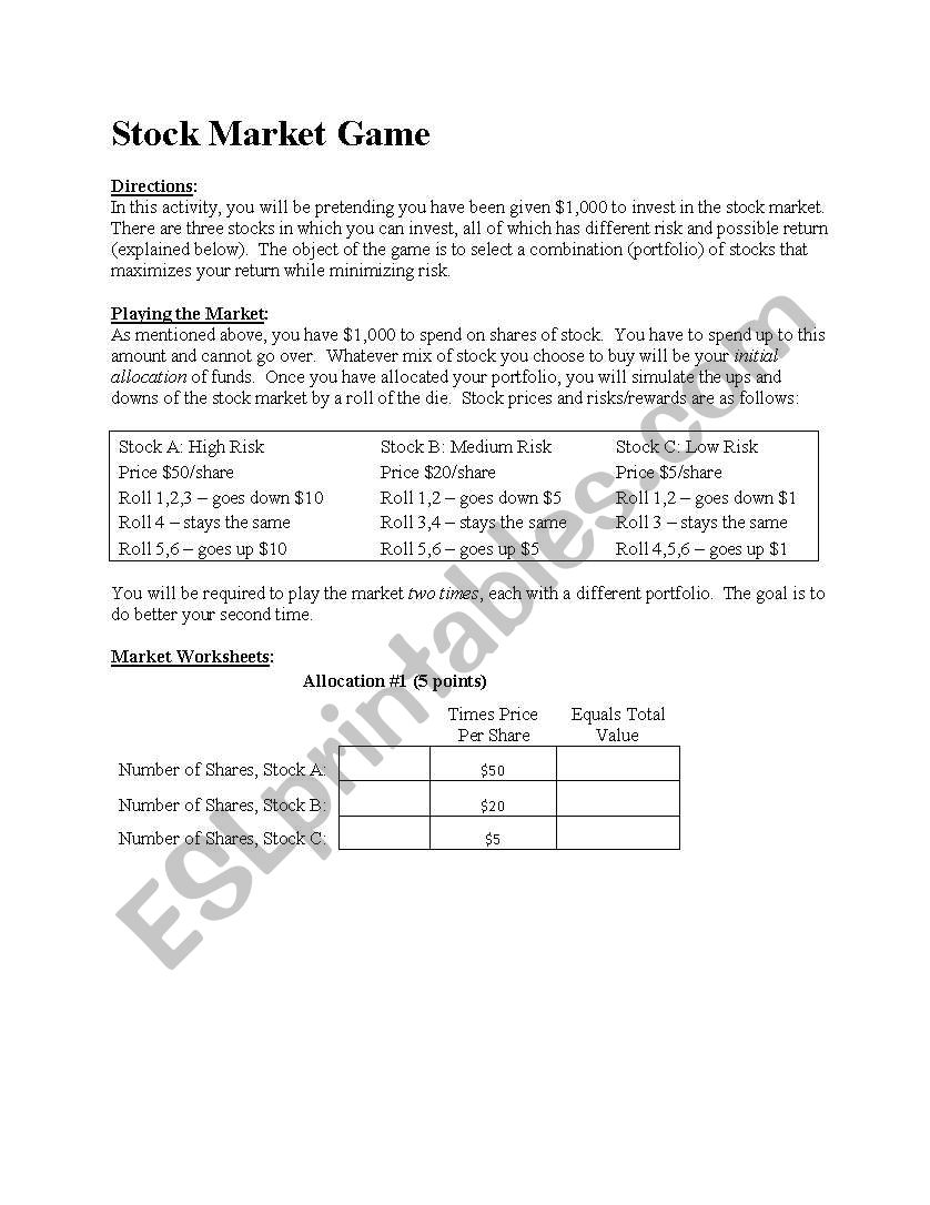 Stock Market Game And Worksheet Esl Worksheet By Jaguar92