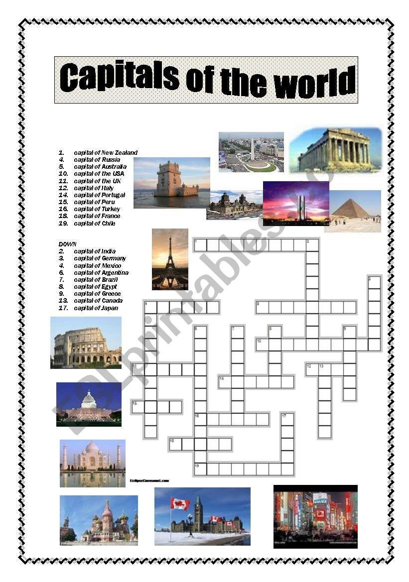 Capitals of the world crossword