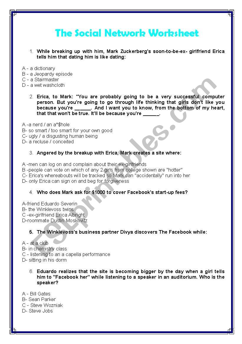 The social network - movie worksheet