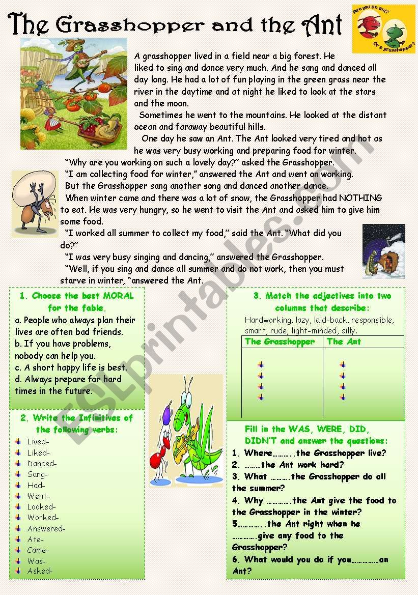 reading comprehension with moral the grasshopper and the ant esl worksheet by nurikzhan. Black Bedroom Furniture Sets. Home Design Ideas