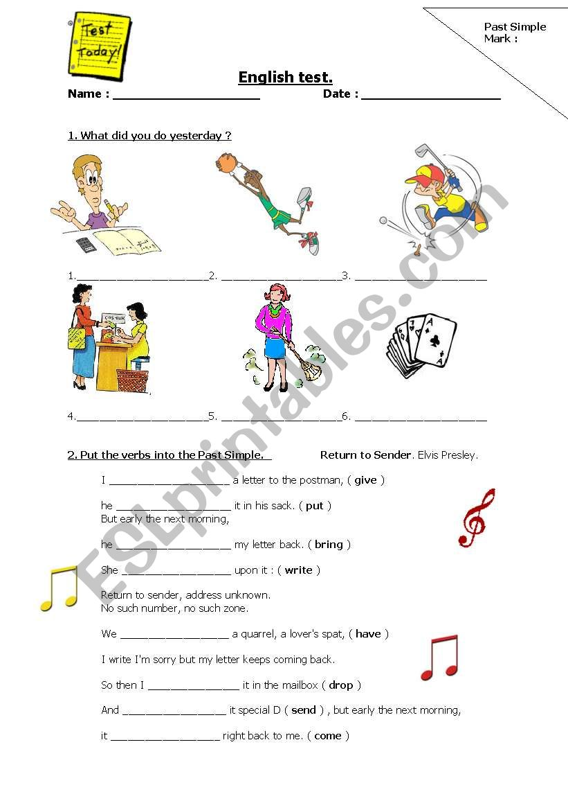 Past simple test worksheet