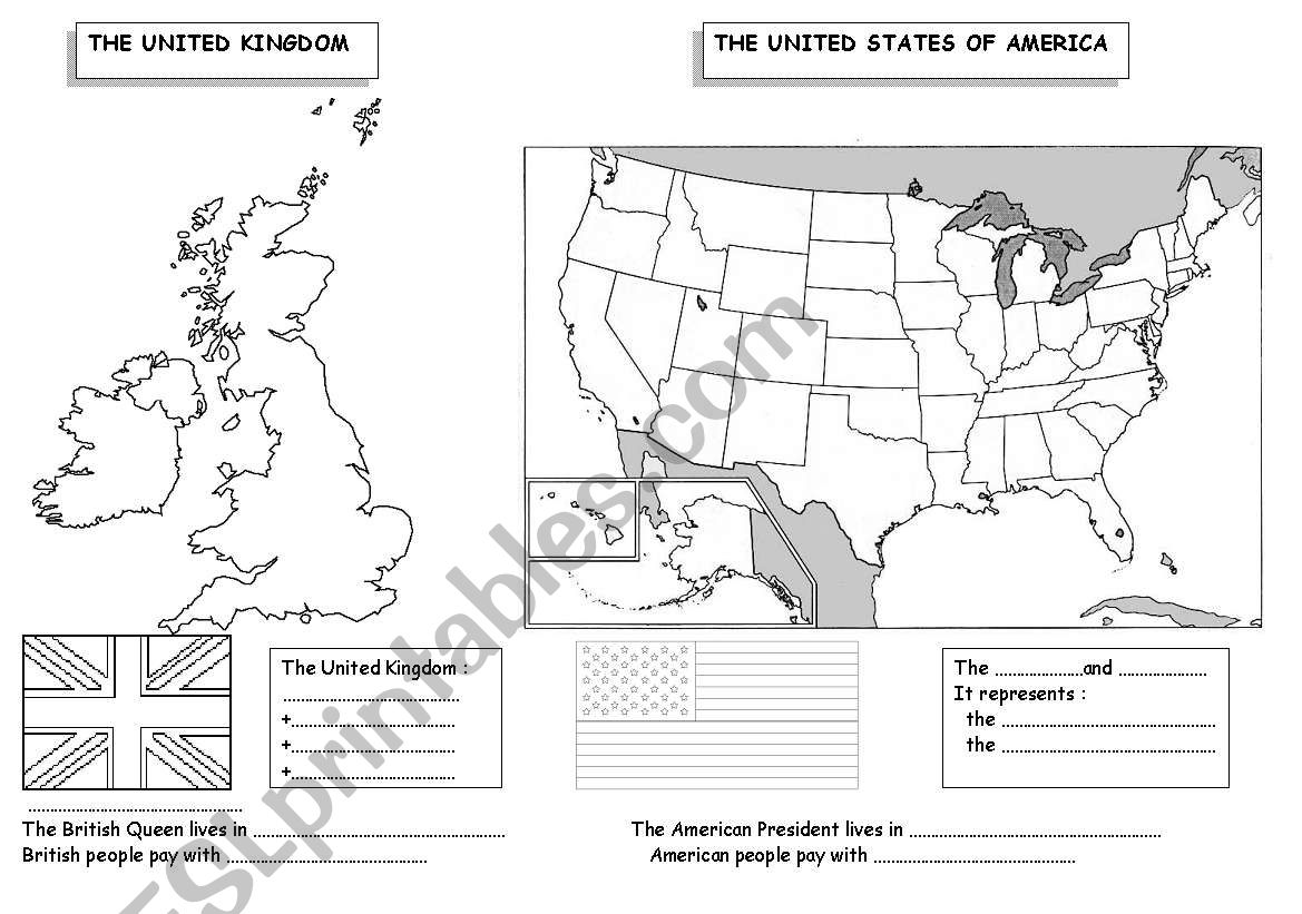 the UK and the USA worksheet