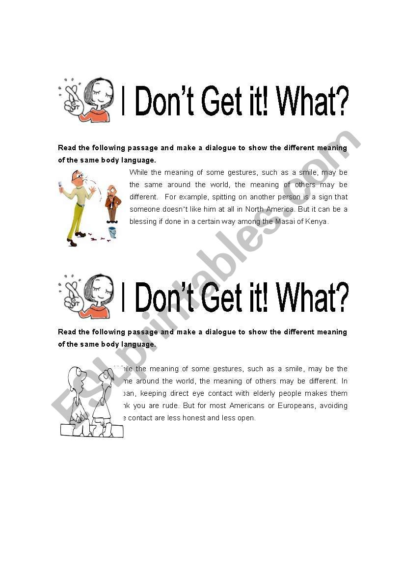 Body Language Esl Worksheet By Lovedk12