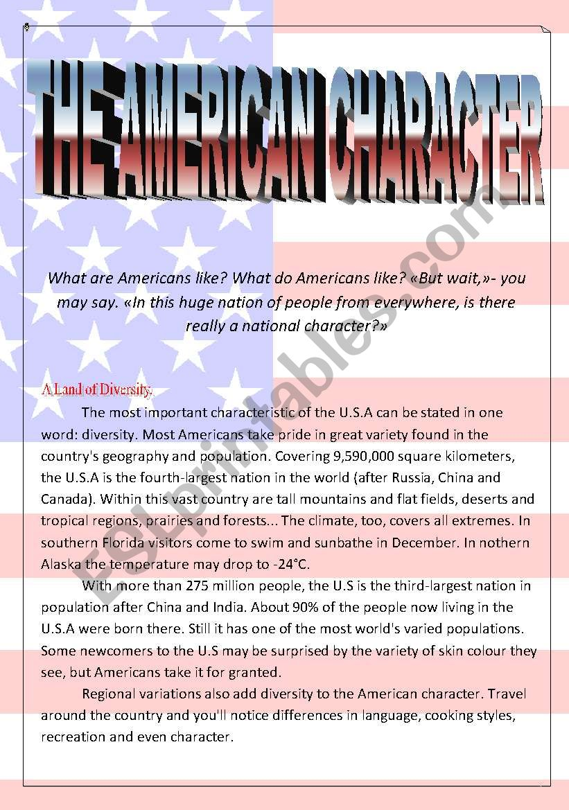 The American Character worksheet