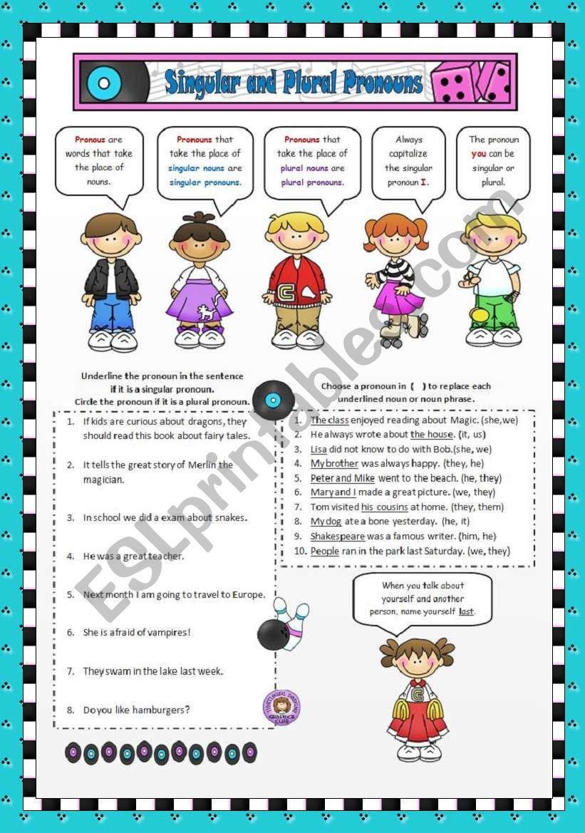 Singular and Plural Pronouns worksheet