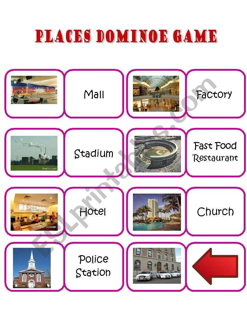 Dominoe Game of Common Places worksheet