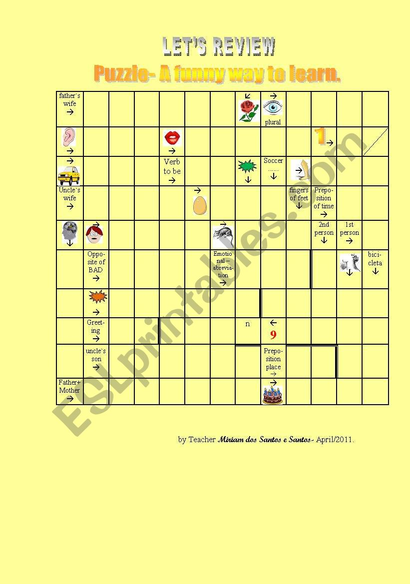 Puzzle- Review Words worksheet