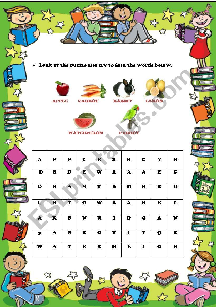 an enjoyable puzzle for young learners (fruits,animals)
