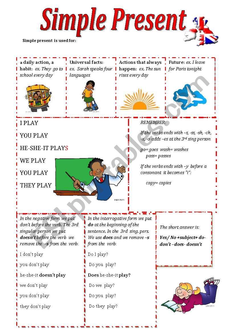 SIMPLE PRESENT - GRAMMAR & EXERCISES - ESL worksheet by olaola
