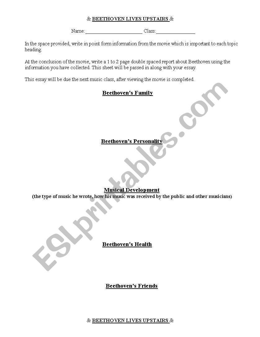 English Worksheets Beethoven Lives Upstairs Worksheet