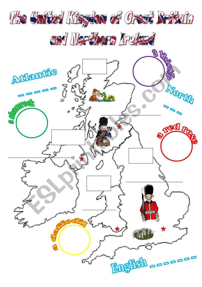 The UK: cut-and-paste activity for young learners (2 pages, fully editable)