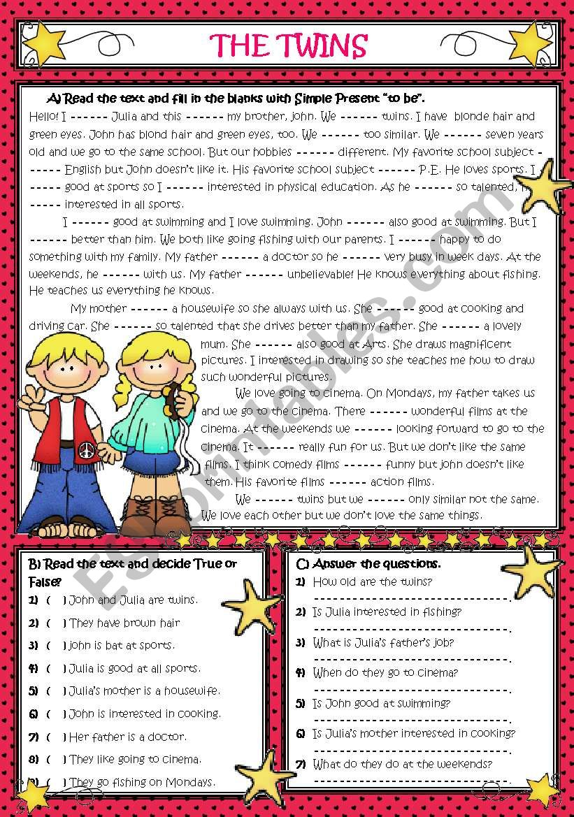 AM-IS-ARE *** THE TWINS *** (Reading-Grammar)