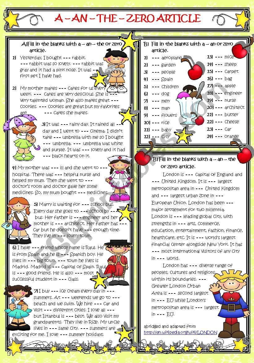 A-AN-THE or ZERO ARTICLE worksheet