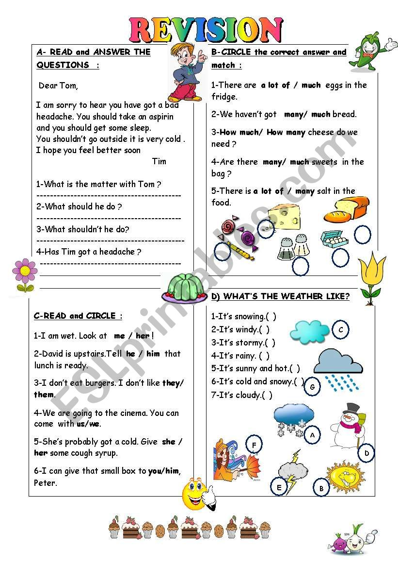 Revision For The 4th Grade Esl Worksheet By Duygu2