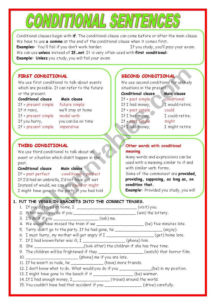 CONDITIONAL SENTENCES. EXPLANATION AND EXERCISES. (KEY INCLUDED)