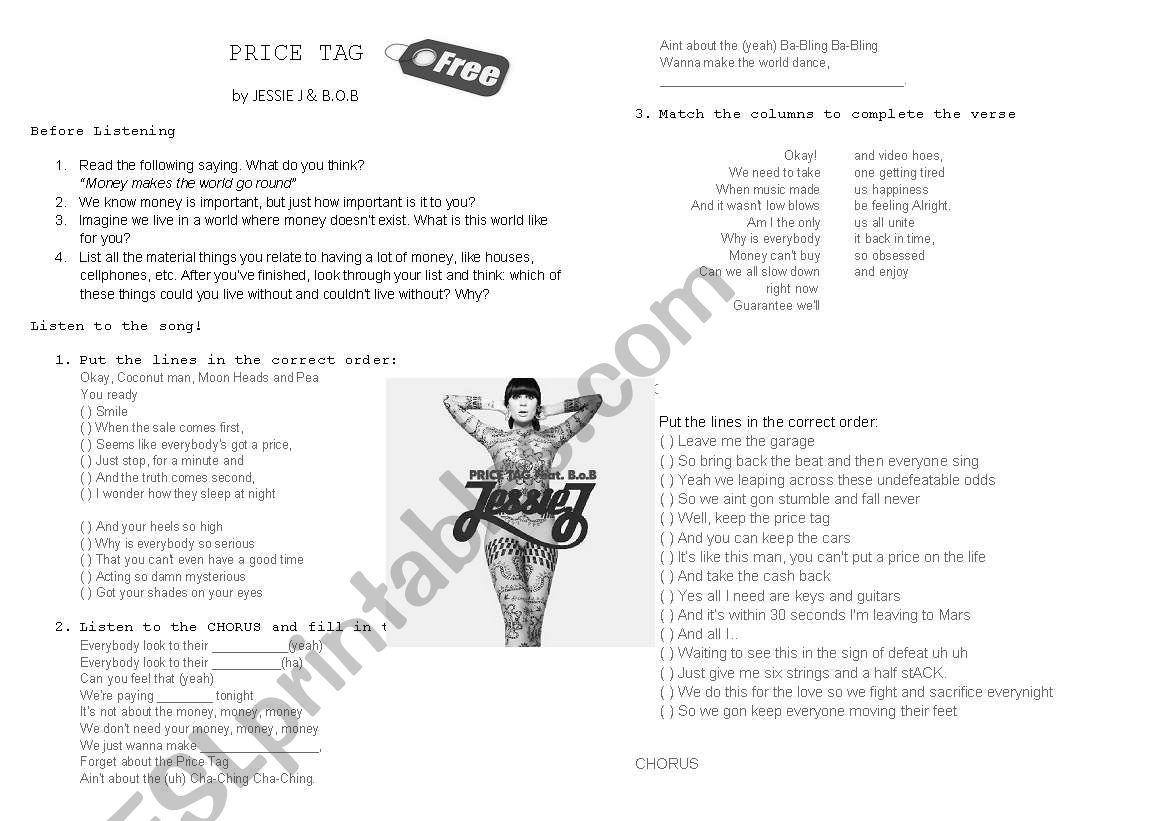 PRICE TAG - Jessie J. & B.O.B worksheet