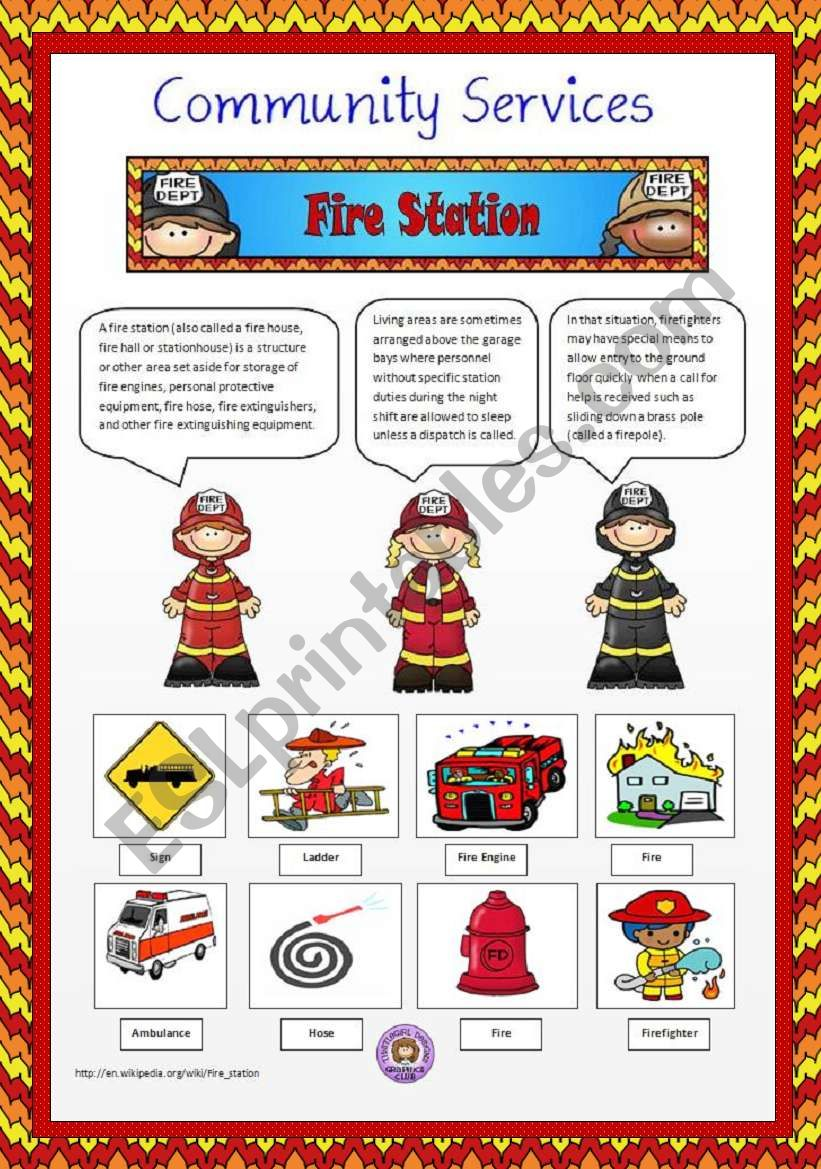 Community Services 5 Fire Station Esl Worksheet By Vanev