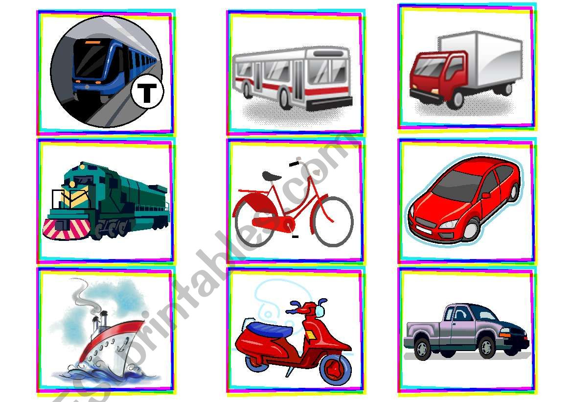 Transport flashcards worksheet