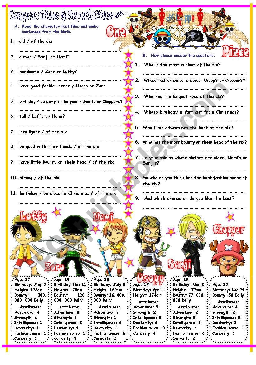 Comparatives & Superlatives with Long, Short & Irregular Adjectives & One Piece. Key Included.