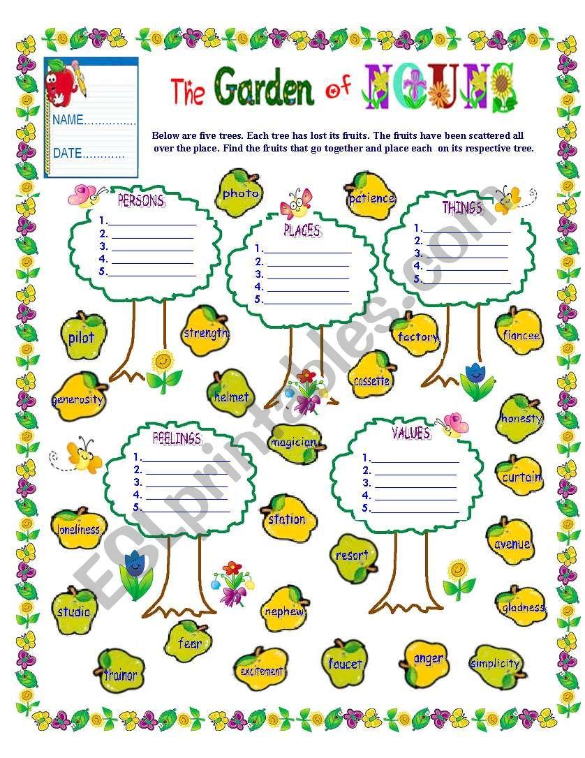 THE GARDEN OF NOUNS worksheet