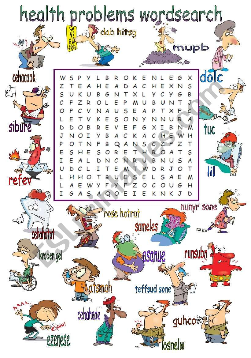 Health Problems Wordsearch worksheet