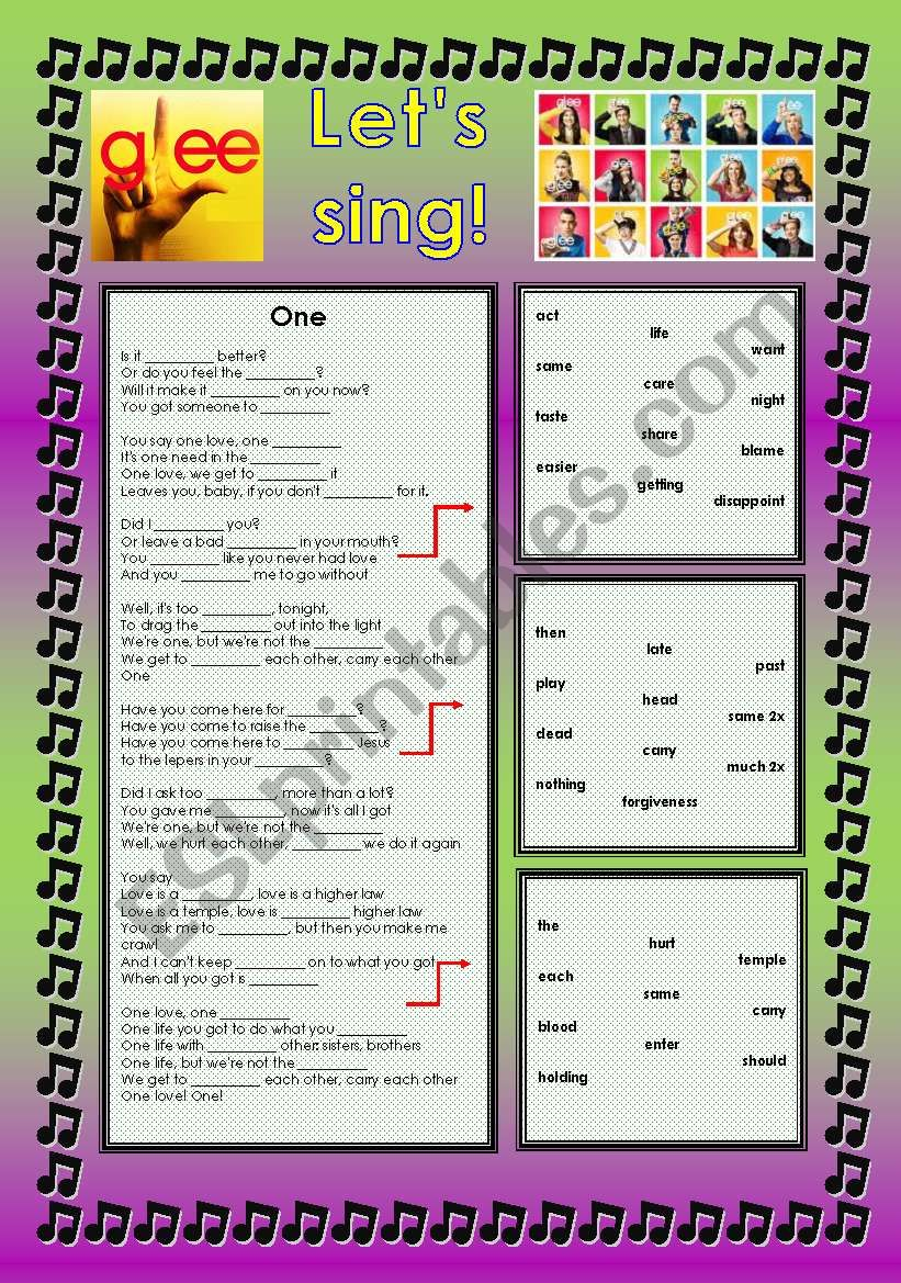 GLEE SERIES – SONGS FOR CLASS! S01E18 – FIVE SONGS – FULLY EDITABLE WITH KEY!