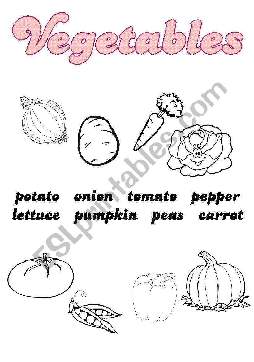 Vegetables vocabulary worksheet