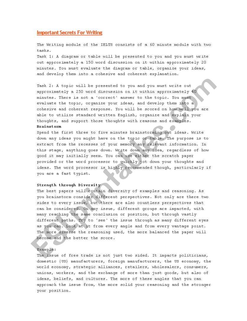 IELTS ESSAYS worksheet