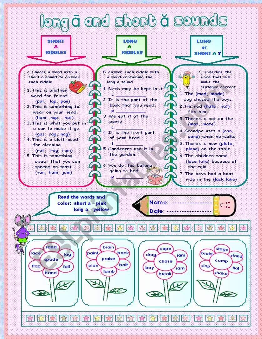 LONG A  AND SHORT A SOUNDS worksheet