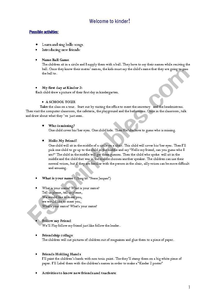 Starting Kindergarten - ESL worksheet by MARINAELGUE