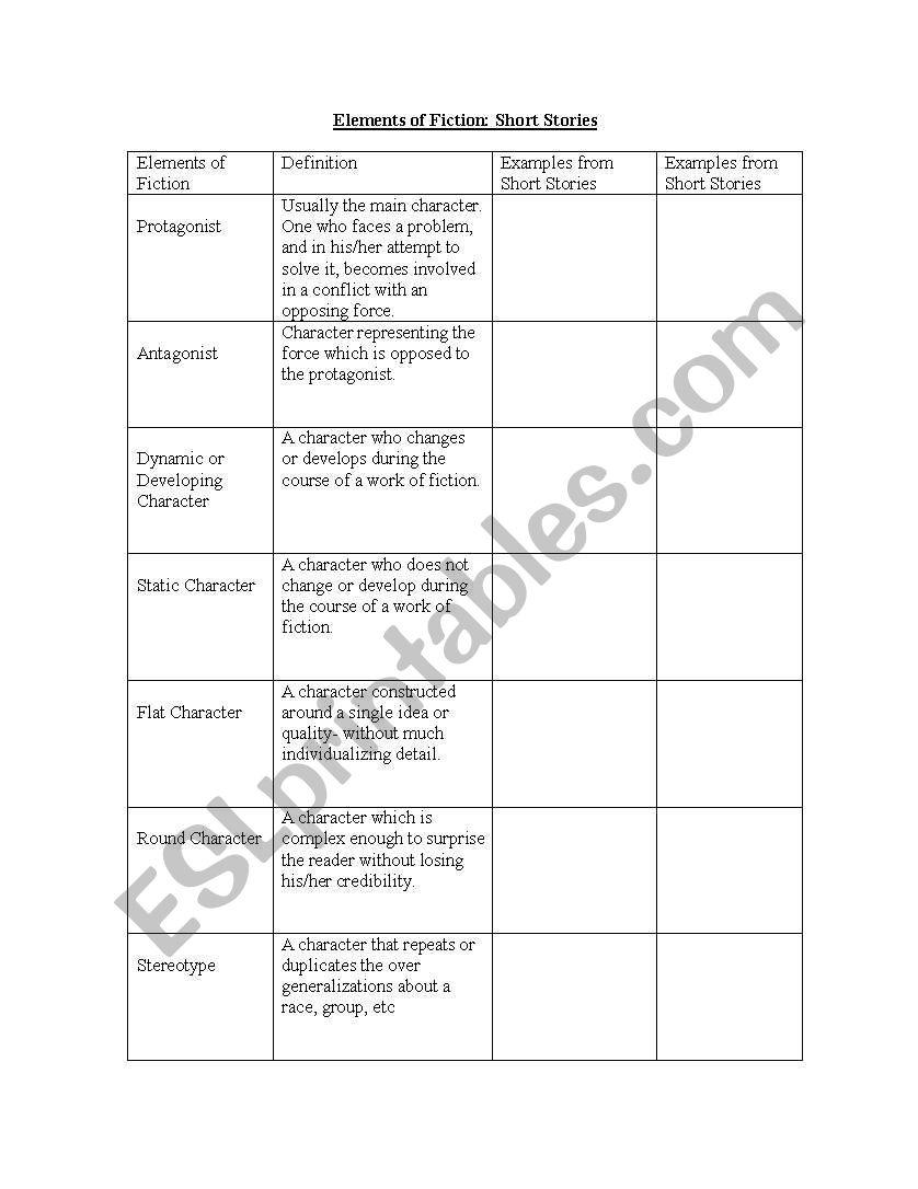 Worksheets Elements Of Fiction Worksheet english worksheets elements of fiction worksheet