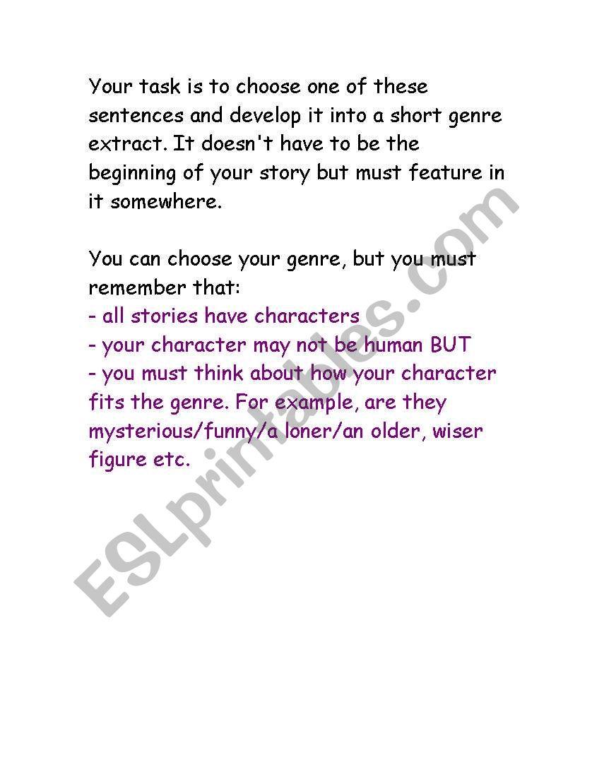 English worksheets: Story sentence starters